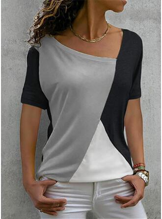 Color Block Print V-Neck Short Sleeves T-shirts