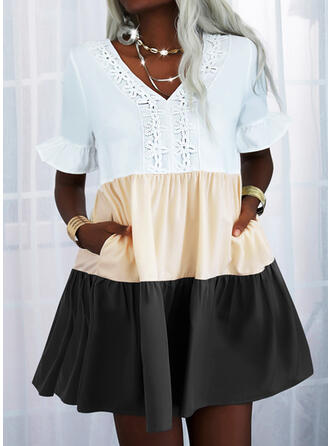 Lace/Color Block Short Sleeves Shift Above Knee Casual Tunic Dresses