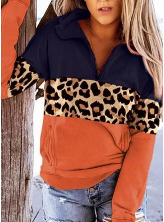 Color Block Leopard Lapel Long Sleeves Sweatshirt