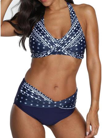 Dot Print Paisley Halter Fashionable Retro Bikinis Swimsuits