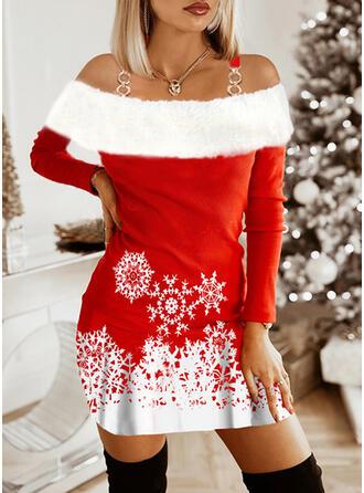 Navidad Impresión/Trozos de color Manga Larga Manga raglan Cubierta Sobre la Rodilla Fiesta Vestidos