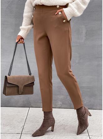 Couleur Unie Longue Élégante Grande taille Bureau / Affaires Poche Pantalon