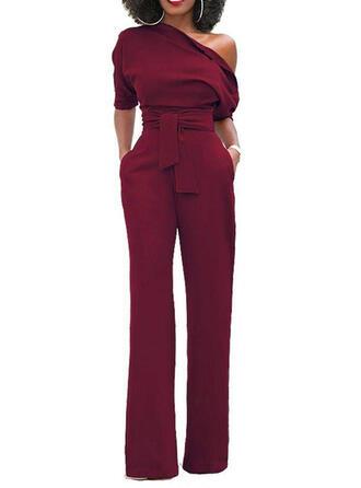 Solid One Shoulder Short Sleeves Elegant Party Jumpsuit