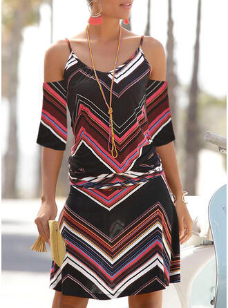 Striped 3/4 Sleeves Sheath Above Knee Casual/Vacation Dresses