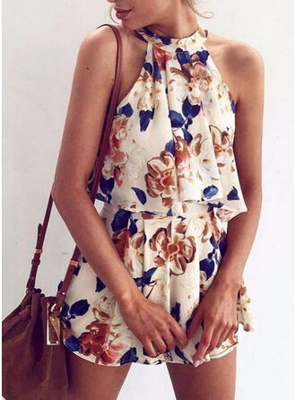 Floral Print Round Neck Sleeveless Vacation Romper