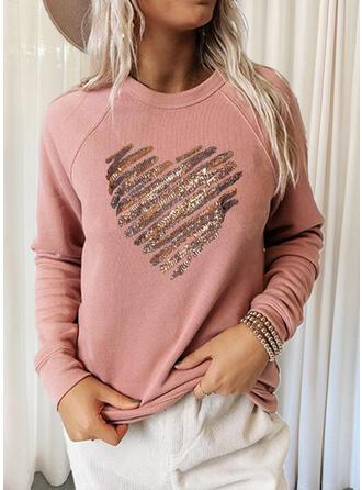 Heart Round Neck Long Sleeves Sweatshirt