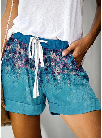Fleurie Imprimé Au-dessus du genou Décontractée Vacances Grande taille Poche Cordon Pantalon