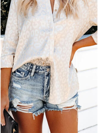 Solid Denim Above Knee Casual Plus Size Pocket Ripped Pants Shorts Denim & Jeans