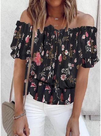 Print Floral Off the Shoulder Short Sleeves Raglan Sleeve Casual Blouses