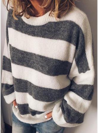 Bloque de Color Rayado Cuello Redondo Casuales Suéteres