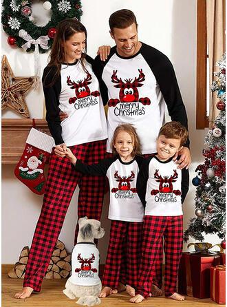 Renne Bloc de Couleur Carreaux Letter Imprimé Tenue Familiale Assortie Pyjama De Noël