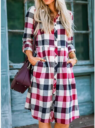 Plaid Long Sleeves A-line Mini Casual Dresses