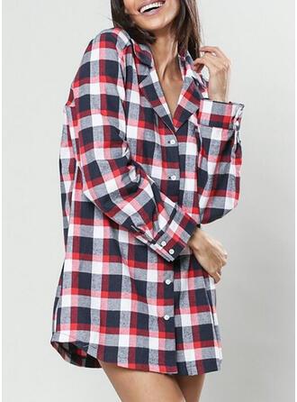 V-Neck Long Sleeves Plaid Casual