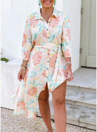 Floral 3/4 Sleeves Asymmetrical Knee Length Casual Dresses