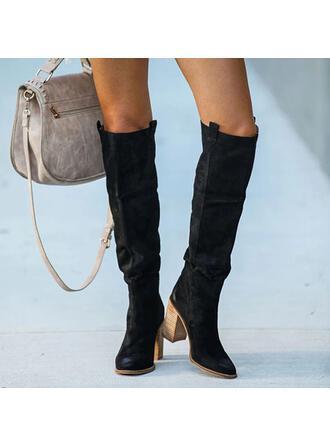 Femmes PU Talon bottier Bottes Bottes hautes avec Plissé Couleur unie chaussures