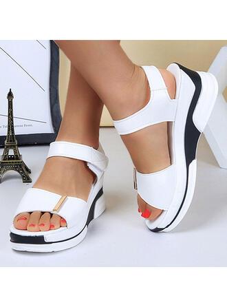 Femmes PU Talon compensé Sandales Plateforme À bout ouvert avec Velcro Couleur unie chaussures