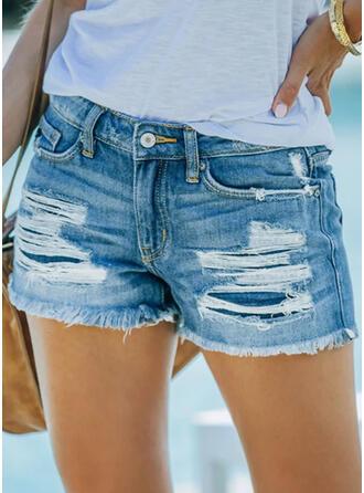 Couleur Unie Treillis Au-dessus du genou Décontractée Grande taille Poche Bourré déchiré Pantalon Short Jeans