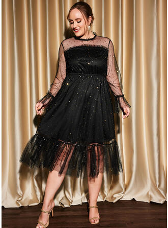 Solid Long Sleeves A-line Skater Little Black/Party/Plus Size Midi Dresses