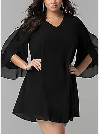 Plus Size Solid 3/4 Sleeves Flare Sleeve Shift Above Knee Casual Little Black Dress