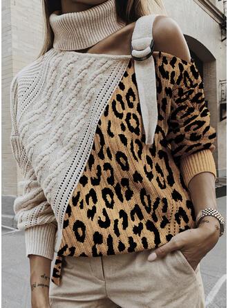 Color Block Cable-knit Leopard Turtleneck Casual Sweaters