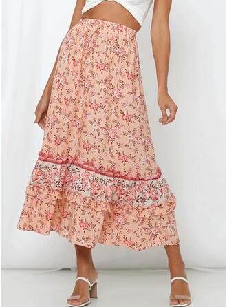 Tecido de seda Impressão Floral Longuete saias de uma linha