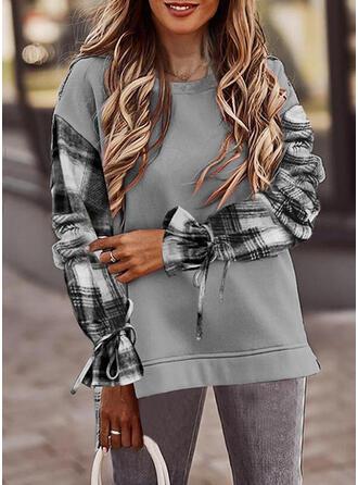 Print Plaid Round Neck Long Sleeves Sweatshirt