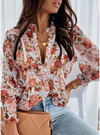 Print Floral V-Neck Lantern Sleeve Long Sleeves Button Up Elegant Blouses