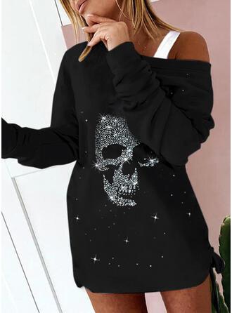 Estampado Manga Comprida lacmado ombro Bodycon Acima do Joelho Casual Sweatshirt Vestidos