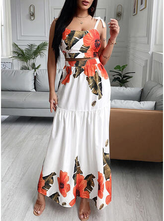 Print Floral Casual Camisole & Two-Piece Outfits Set