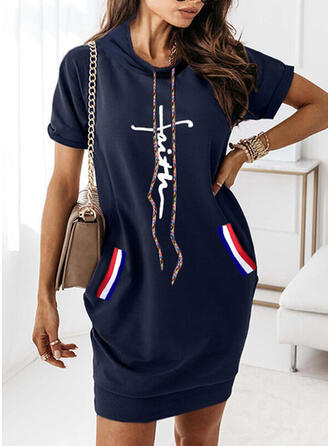 Print/Letter Short Sleeves Shift Above Knee Casual Sweatshirt Dresses