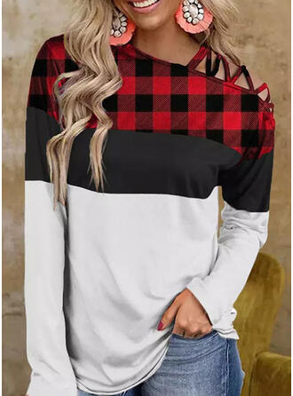 Christmas Color Block Plaid One Shoulder Long Sleeves T-shirts