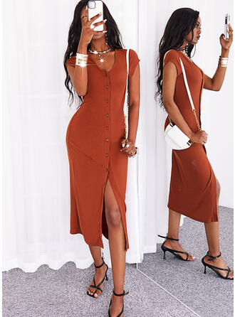 Solid Short Sleeves Cap Sleeve Sheath Casual Midi Dresses