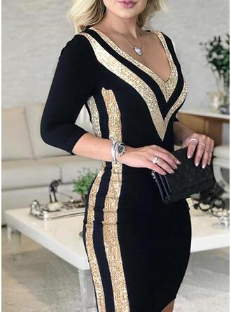 Sequins/Color Block Long Sleeves Bodycon Above Knee Elegant Dresses