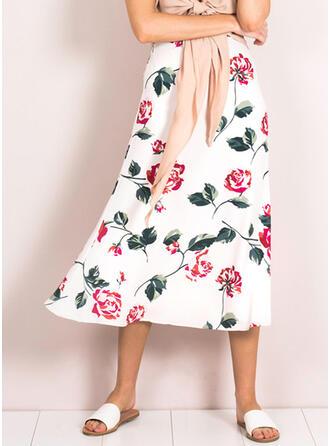 Cotton Print Floral Maxi A-Line Skirts