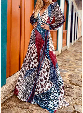 Print/Patchwork Long Sleeves A-line Skater Sexy/Vacation Maxi Dresses