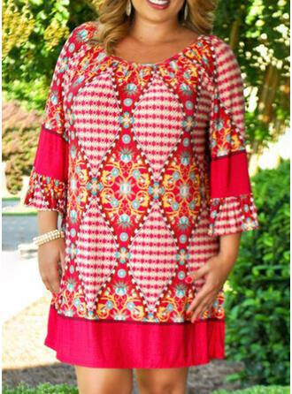 Plus Size Print 3/4 Sleeves Shift Knee Length Boho Casual Vacation Dress