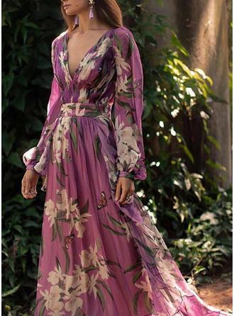 Print/Floral Long Sleeves A-line Skater Elegant Maxi Dresses