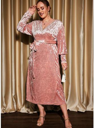 Solid Long Sleeves Lantern Sleeve Sheath Party/Plus Size Midi Dresses