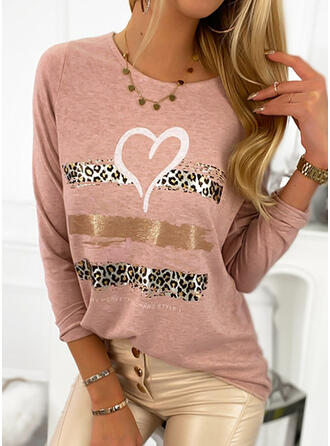 Print Leopard Figure Heart Round Neck Long Sleeves Casual T-shirts