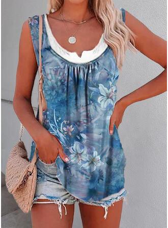 Floral Print U-Neck Sleeveless Tank Tops