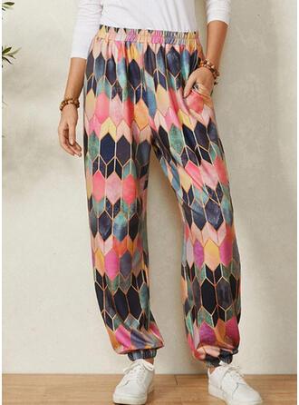 Geometric Print Pockets Casual Print Lounge Pants