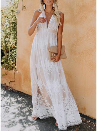 Solid Sleeveless A-line Skater Elegant Maxi Dresses