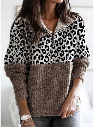 Color Block Leopard Lapel Casual Sweaters
