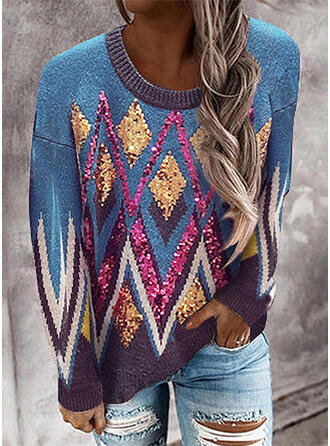Geometric Print Sequins Round Neck Casual Sweaters