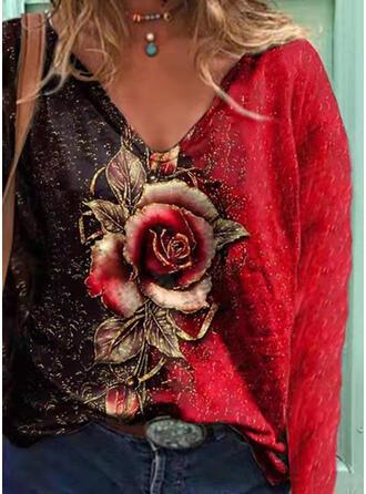 Color Block Floral Print V-Neck Long Sleeves T-shirts