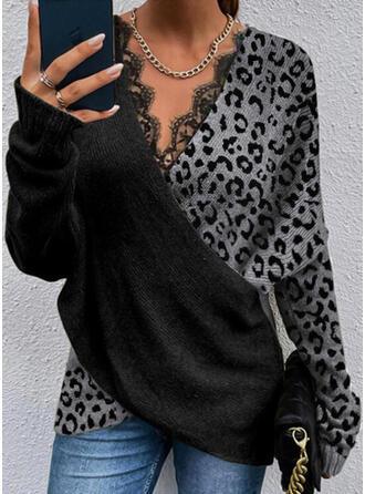 Impresión Trozos de color Leopardo Encaje Cuello en V Casual Suéteres