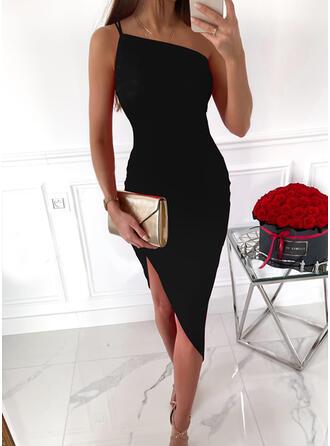 Sólido Sem mangas Bainha Comprimento do joelho Vestido Preto/Elegante Vestidos
