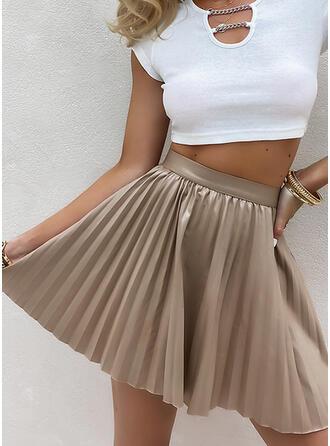 Rayon Plain Above Knee A-Line Skirts