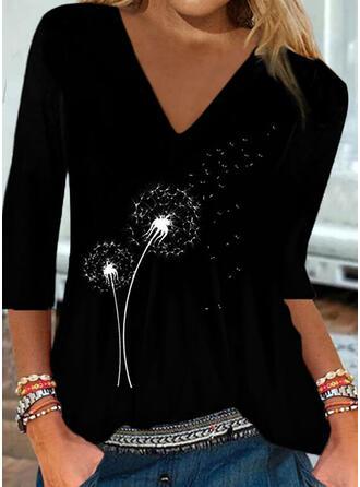 Dandelion Print V-Neck 3/4 Sleeves T-shirts