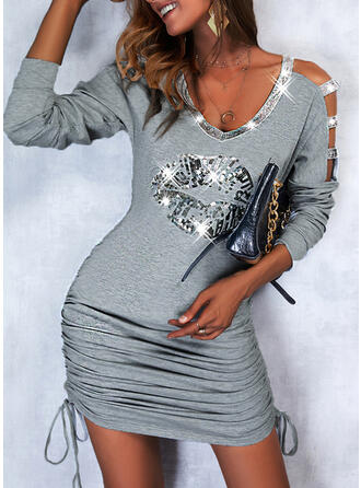 Print Long Sleeves Cold Shoulder Sleeve Sheath Above Knee Casual Dresses